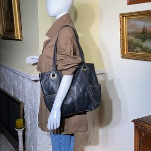 Fossil Black Leather Tote Bag